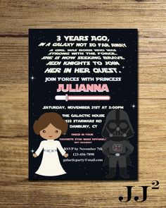 Star Wars Girl Invitation Party Princess Leia The Force
