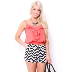 #Coral Ruffle Shirred Tank