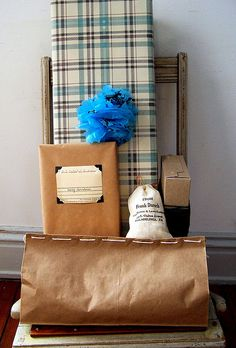 diy classy wrapping - love this. photo corners!