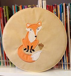 Hoop art fox machine embroidered hoop art size by TriangleQuilting