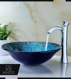 Build the Bathroom of Your Dreams with Key Series Vessel Sink - Transform your bathroom into a mini-spa in your own home with our attractive and fanciful deco glass bathroom vessel sink. Click here: http://www.homedepot.com/p/ANZZI-Key-Series-Deco-Glass-Vessel-Sink-in-Lustrous-Blue-and-Black-LS-AZ046/206730341 #BathroomSink #VesselSink #Sink #VesselSinks #BathroomSinks