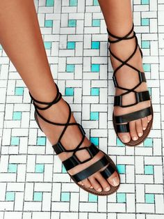 Free People Vegan Maddie Tie Up Sandals. These are perfect for Maui. Black Flats, Black Sandals, Leather Sandals, Tie Up Sandals, Shoes Sandals, Strappy Sandals, Gladiator Flats, Boho Shoes, Sandals Outfit