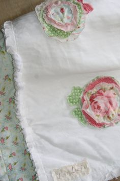 Shabby Chic Burp Cloth Set Baby Girl Burp Cloths
