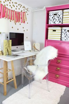 Pink and Gold Office Nook - I'm obsessed with this space!