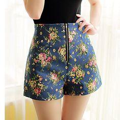 Calças Mulher ( Misto de Algodão ) -  Shorts  -  Média  -  Sem Elasticidade – BRL R$ 68,37
