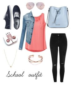 """School outfit"" by stina999 on Polyvore featuring Armani Jeans, prAna, LE3NO, River Island, Vans, PhunkeeTree, Oliver Peoples and Zoë Chicco"