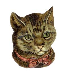 Victorian Die Cut of Cat with Red Bow