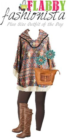 c1d4010c5a0 Plus Size Outfit of the Day - Aztec Poncho - Flabby Fashionista - Plus Size  Fashion Blog