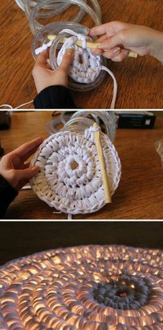 Crochet lights into a Christmas tree skirt, night light, or wall hanging. English tutorial here.