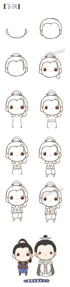 easy kawaii drawings chibi draw drawing step fei ju liu matrix grew sketches manga doodles doodle china desenhos head anime