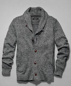 Men's Elberton Marled Shawl Collar Cardigan Sweater: The luxurious texture of marled yarns accentuates the classic good looks of this wool/acrylic/nylon cardigan. Contrasting texture at the shoulders creates an overlay effect. Faux leather buttons at the shawl collar and center front.