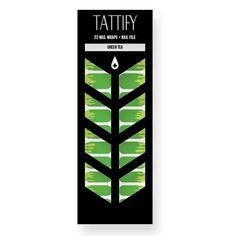 Tattify Green Drip Nail Wraps - Green Tea (Set of 22)