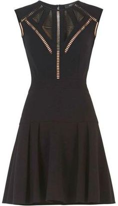 'Aynn' Embroidered Sheer-Trim Dress in Black or Red