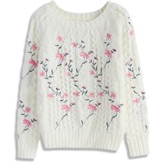 Chicwish Pleasant Flowers Embroidered Cable Knit Sweater in Ivory (74 CAD) ❤ liked on Polyvore featuring tops, sweaters, white, ivory top, chunky cable sweater, cable knit sweater, flower sweater and white sweater