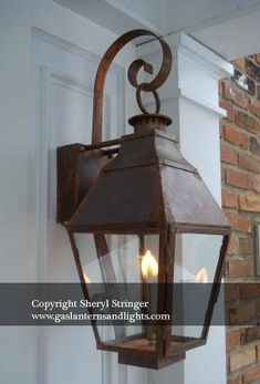 French Gas Lanterns with Copper Curls