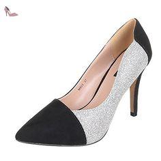 Ital-Design , Escarpins pour femme - argenté - Argenté / Noir, 37 EU - Chaussures ital design (*Partner-Link)