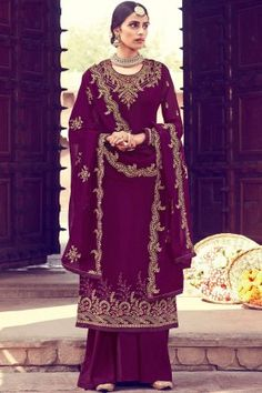 #Pakistani #Dresses , Designer #Wine Georgette #Palazzo Suits Online #UK - #Shopkund Mode Bollywood, Bollywood Fashion, Pakistani Dresses Online, Indian Dresses, Baby Girl Dress Design, Party Kleidung, Dress Meaning, Palazzo Suit, Kurti Designs Party Wear
