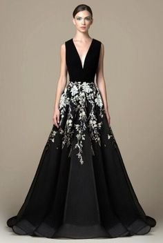 Saiid Kobeisy - Sequined Deep V-neck A-line Gown Tulle Dress, Sequin Dress, Strapless Dress, Gown Dress, Brunch Outfit, Hollywood Glamour, Saiid Kobeisy, Jet Black Color, Evening Dresses