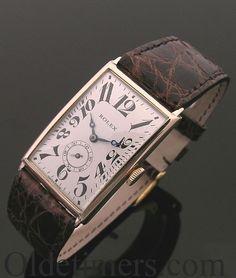 Vintage Watches A rare 'Art Deco' gold rectangular vintage Rolex watch, 1927 - Army Watches, Old Watches, Fine Watches, Watches For Men, Wrist Watches, Vintage Rolex, Vintage Watches, Art Deco Stil, Art Deco Watch