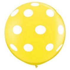 """36"""" Round Polka Dot Balloon - Yellow"""