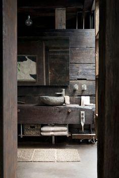 39 Amazing Rustic Bathroom Designs : 39 Cool Rustic Bathroom Designs With Dark Wooden Wall Wash Basin Mirror Towel Carpet Stone Floor And Wooden Cabinet