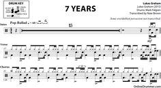 7 Years - Lukas Graham - Drum Sheet Music #drums #lukasgraham #drumsheetmusic