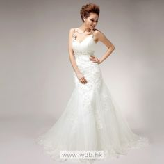 Spaghetti Straps Trumpet / Mermaid fashionable bridal gown $349