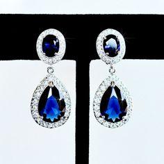 Gorgeous Classic Sapphire Blue Pear CZ by PrettybySusanJewelry