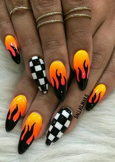 Checkered black and white accents with yellow, orange, and black racing theme/mu. - Checkered black and white accents with yellow, orange, and black racing theme/muscle car nail art - Summer Acrylic Nails, Best Acrylic Nails, Aycrlic Nails, Swag Nails, Matte Nails, Nail Nail, Punk Nails, Edgy Nails, Coffin Nails