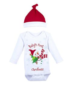Take a look at this White 'First Christmas' Bodysuit & Red Single-Knot Beanie - Infant by GANZ on #zulily today!