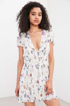 Oh My Love Short-Sleeve Mini Tea Dress - Urban Outfitters