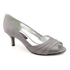 Nina Nina Criana Peep Toe Kitten Heels Shoes Gray Womens (bridsmaids?)