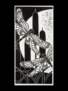 Dragonfly Moonlight. Lino block print by Dona Reed More