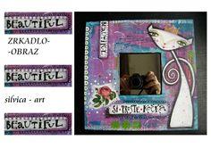 Zrkadlo-obraz ,,Zlepšovač rannej nálady,,♥♥♥ originál koláž - akryl na dreve rozmer 25x25 cm zozadu dierka na zavesenie Workshop, Gallery, Cover, Frame, Books, Decor, Art, Picture Frame, Art Background