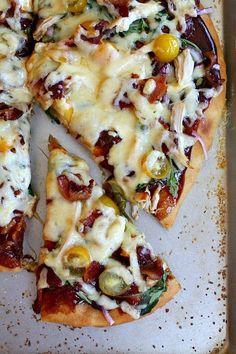Barbecue chicken and bacon pizza from RecipeGirl