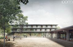 Visualisierung-Karamuk-Kuo-Architekten-GmbH-Wettbewerb-Erweiterung-Schule-Weiden-Rapperswil-Jona   visualisierung loomn architektur animatio...