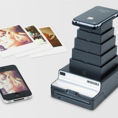 "With the ""Impossible Instant Lab"", print your photos directly from the iPhone to Polaroid paper! This gadget uses directly the screen of your iPhone to expose the paper and print on Polaroid the. Fotos Als Polaroid, Photo Polaroid, Polaroid Pictures, Polaroids, Polaroid Printer, Photo Printer, Polaroid Cameras, Polaroid Film, Landscaping Ideas"