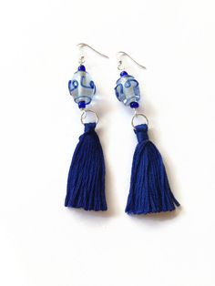 Blue Tassel Earrings with Blue Swirl Glass Beads Blue Tassle Dangle Earrings Blue Fringe Earrings Boho Fringe Earrings Gypsy Jewelry (E191) by JulemiJewelry on Etsy