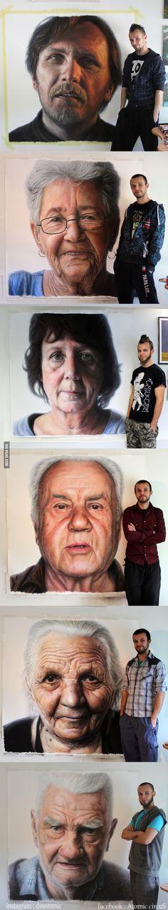Mixed media family portraits by Dino Tomic