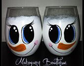 Snow Girl stemless wine glasses - Set of 2...too cute!