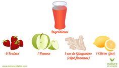 jus de fraises  Ingrédients pour 1 portion  6 fraises (ou une poignée) 1 Pomme 1 cm de gingembre râpé finement 1 citron (jus)