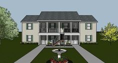 apartment plan with covered entry porch and efficient interior layout. Investment Property, Rental Property, Apartment Floor Plans, Apartment Ideas, Plans Architecture, Family House Plans, Apartment Complexes, Building Plans, Small Apartments