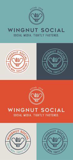 Brand Design for Wingnut Social: Social Media Marketing and Content Marketing Services for Interior Designers #brand #branding #branddesign #logo #logoDesign #logovariations #orangelogo #orangeandblue #logodesigner #winnut #badgestyle