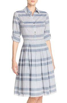 Ivanka Trump Stripe Pleated Cotton Shirtdress