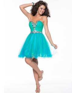 Blue & Green Sequined Tulle Strapless Sweetheart Short Prom Dress - Unique Vintage - Homecoming Dresses, Pinup & Prom Dresses.