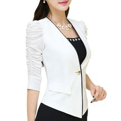 Slim V-neck blaser female 2016 Summer fashion all-match puff sleeve ladies blazers and jackets office Plus size business suits Suit Jackets For Women, Blazers For Women, Ladies Blazers, Casual Blazer Women, Plus Size Outerwear, Striped Blazer, Dress Suits, Costume, Pulls
