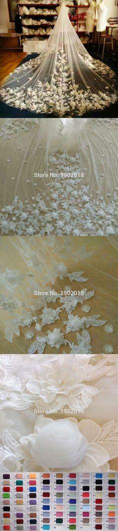 Illusion Flower Bridal Veil 2016 Velos De Novia Color Custom Luxury Veils 3M Lace Applique Cathedral Wedding Veil Accessories $89