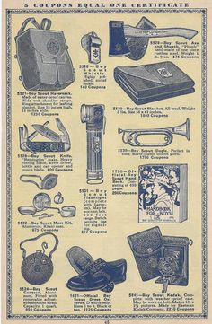 1930s catalog.  shows various Boy Scouts accessories.