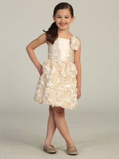 Champagne Bubble Rosette Charmeuse Dress  flower girl or other formal event