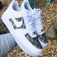 Gucci - Custom Nike Air Force 1 w/ Gucci stitching Zapatillas Nike Air Force, Air Force One Shoes, Cute Sneakers, Sneakers Nike, Gucci Shoes Sneakers, Shoes Sandals, Sneaker Store, Reflective Shoes, Nike Air Shoes